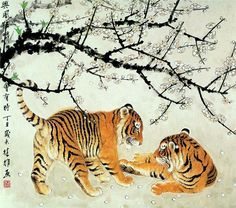 Chinese painting of tigers Japanese Animals, Japanese Art, Asian Tigers, Tiger Painting, Tiger Art, Tiger Cubs, Japan Painting, Art Japonais, Zodiac Art