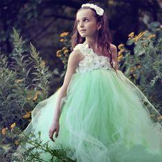 light green one shoulder flower girl dresses for wedding