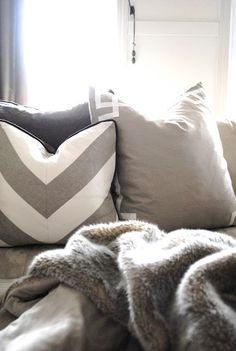 Wheat and White Linen Chevron Throw Pillow. $58.00, via Etsy.