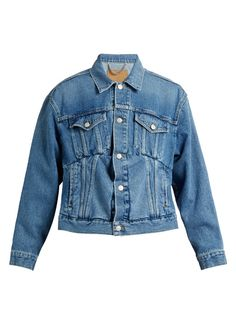 Balenciaga Inverted-pleat box-cut denim jacket