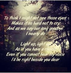 To think I might not see those eyes make it so hard not to cry. And as we say our long goodbye I nearly do. Light up, light up. As if you have a choice. Even if you cannot hear my voice, I will be right beside you dear