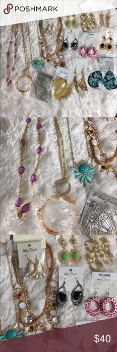 Lot of 15 Mix Jewelries New! Beautiful pieces. Great to mix and match with outfits, gift or resell. Includes 4 necklaces and 11 different styles of earrings. Necklaces and earrings total of 15. Great deal for a lot. Don't miss it! 🦋Boutique item🦋 Boutique Jewelry Necklaces