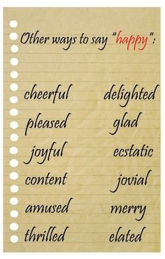"""Other ways to say """"happy"""""""