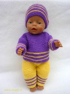 Winterkleding / Baby Born 43 cm | Nappi.nl Lekker retro, gebreide broek, trui en muts. Patroon De Breikraam