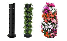 Flower Tower...make your own by using plumbing supplies...pvc pipe and a flange.