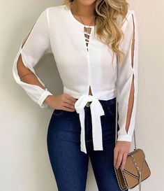 Blouse designs - The awesome fashion jeans Basic Outfits, Casual Outfits, Cute Outfits, Blouse Styles, Blouse Designs, Mode Jeans, Mode Chic, Business Outfits, Jeans Style