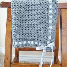 Crochet Baby Blanket With Ribbon - Gender Neutral Baby Shower Gift - Hand Made…