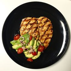 Garlic and Lime Grilled Chicken with Avocado and Tomato Salad  Macro information: http://www.myfitnesspal.com/recipe/view/172912756617085