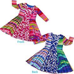TwirlyGirl Twirly Girl First Day of School Dress Unique Colorful Rainbow Design 3/4 Sleeve