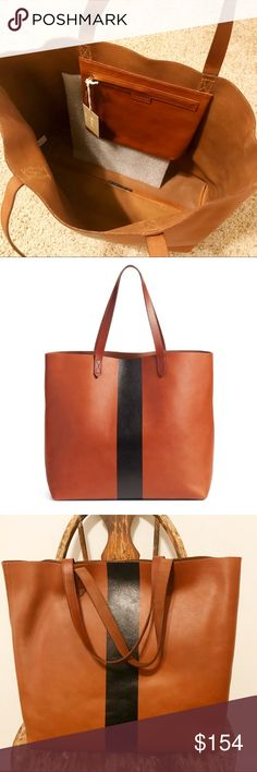 "NWT Madewell Paint Stripe Transport Leather Tote Leather. Interior zip pocket. 8 1/4"" handle drop. Madewell Bags Totes"