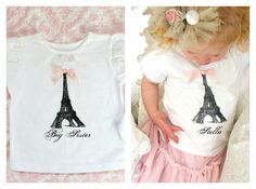 Big Sister Baby Announcement Personalized & Screen Printed Eiffel Tower Girl Short Sleeve Tee / T-Shirt. New Sister, New Baby