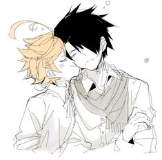 Ray x Emma - The Promised Neverland Cute Anime Pics, Cute Anime Couples, Anime Love, Fanarts Anime, Anime Characters, Manga Anime, Norman, Manhwa, Chihiro Y Haku