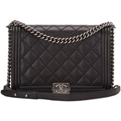 Pre-owned Chanel Pearlized Black Double Quilt Calfskin Large Boy Bag ($6,700) ❤ liked on Polyvore featuring bags, handbags, shoulder bags, handbags and purses, structured shoulder bags, structured purse, calfskin purse, calfskin handbag, chanel shoulder bag and shoulder strap handbags