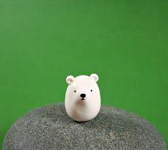 Little Polar Bear - Hand Sculpted Miniature Polymer Clay Animal on Etsy, $15.00