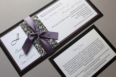 Purple, Lilac Wedding Invitations with Black and White Damask by decadentdesigns, via Flickr