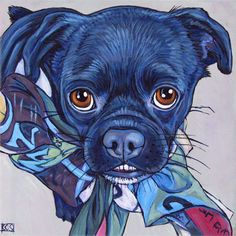 "Razor the Pug Mixed Breed Dog in Scarf Custom Pet Portrait Painting in Acrylic on 6"" x 6"" Canvas from Pet Portraits by Bethany."