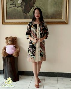 Batik dress modern batik republic order by wa 6281210197400 or line batikrepublic Model Dress Batik, Batik Dress, Blouse Batik Modern, Outer Batik, Batik Blazer, Cute Fashion, Womens Fashion, Emo Fashion, Fashion Dresses