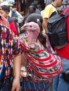 Woman and her turkey at the market in Chichicastenango, Guatemala