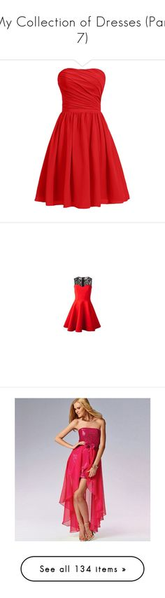 """""""My Collection of Dresses (Part 7)"""" by hallaveryh ❤ liked on Polyvore featuring dresses, short dresses, short bridesmaid dresses, short red cocktail dress, short homecoming dresses, red homecoming dresses, red bridesmaid dresses, sisters point, red dress and vestidos"""