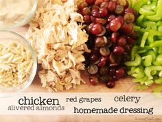 chicken salad with red grapes, celery, and slivered almonds