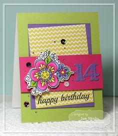 Happy 14th Birthday by Jen Shults, handmade card