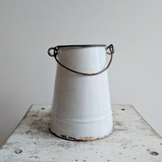 Simple White Farmhouse Milk Pail   Byske Home Goods French Industrial Decor, French Kitchen Decor, French Decor, French Cottage Style, Milk Pail, Vintage Enamelware, Candle Warmer, Coffee Staining, White Farmhouse