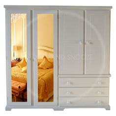 HAND MADE BALTIC 4 DOOR WARDROBE MIRRORED SOLID PINE WHITE (ASSEMBLED) in Home, Furniture & DIY, Furniture, Wardrobes | eBay