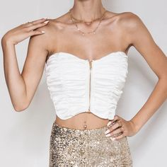 Features:Beautiful soft, satin fabricStrapless designFront gold zipper featureCropped styleFully ruched Care: Cold water hand washWhat's in the crop Beautiful, Tops, Women, Fashion, Moda, Fashion Styles, Fashion Illustrations, Woman