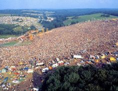 Aerial shot of Woodstock in 1969