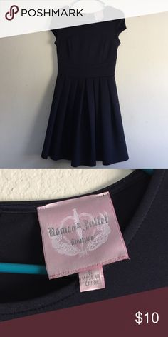 Romeo &a Juliet navy mini dress Pleated skirt. Fits well at the hips. I have worn this once. Selling it because it's too short on me. Romeo & Juliet Couture Dresses Mini