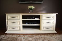 our new entertainment center made from an old dresser, painted furniture, repurposing upcycling, Entertainment center made out of an old dresser