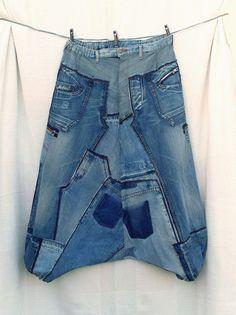 Taglia XXXL in patchwork di jeans riciclati, pantaloni molto larghi pantaloni harem