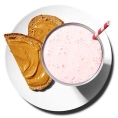 A fat-fighting 300 calorie breakfast:  Raspberry-Banana Smoothie with whole wheat toast and peanut butter