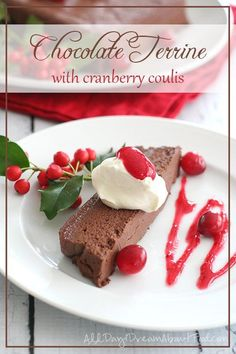 Terrine with Cranberry Coulis Low Carb Chocolate Terrine Recipe - dense and rich chocolate dessert with sugar-free cranberry sauceLow Carb Chocolate Terrine Recipe - dense and rich chocolate dessert with sugar-free cranberry sauce Low Carb Sweets, Low Carb Desserts, Dessert Recipes, Low Carb Chocolate, Chocolate Desserts, Chocolate Chocolate, Holiday Desserts, Holiday Recipes, Chocolate Terrine