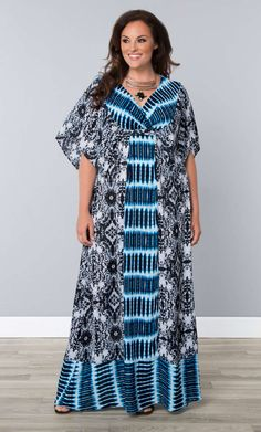 One bold print is great, but how about two?  Our plus size Bohemian Breeze Maxi Dress features two contrasting patterns and dramatic modified kimono sleeves for a dramatic look.  See Kiyonna's entire made in the USA collection at www.kiyonna.com.  #KiyonnaPlusYou