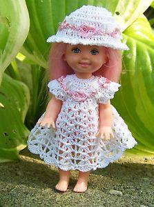"Barbie's Kelly 4 1 2"" Doll White Dress Sunhat with Pink White Trim Crochet   eBay"