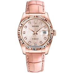 Rolex Datejust 36mm Everose Gold 116135 Jubilee Pink Diamond Watch ($19,762) ❤ liked on Polyvore featuring jewelry, watches, gold watches, pink watches, gold wristwatches, bezel watches and pink gold jewelry