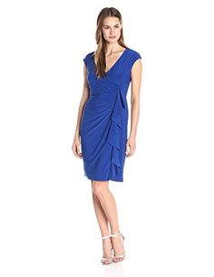 Kasper Womens Cap Sleeve Fitted Ruffle Front Regal Blue 12 ** Be sure to check out this awesome product.