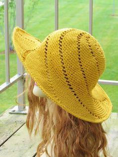 Crochet Hat With Brim, Crochet Adult Hat, Crochet Summer Hats, Crochet Cap, Easy Crochet, Knitted Hats, Sombrero A Crochet, Popular Crochet, Baby Sun Hat