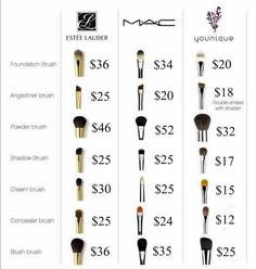 Younique Makeup Brush Prices compared to MACS & Estée Lauders. Younique's makeup brushes are equal or higher quality to both of those brands yet still less expensive! Makeup Tools, Makeup Brushes, Makeup Ideas, Makeup Hacks, Makeup Inspiration, Younique Foundation Brush, Makeup Brush Price, Younique Presenter, Concealer Brush