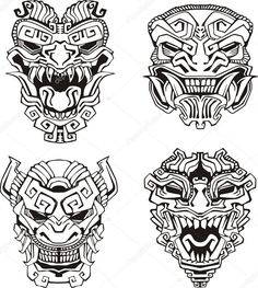 Download - Aztec monster totem masks — Stock Illustration #16646499