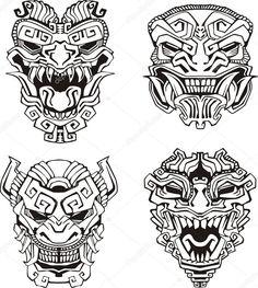 Download - Aztec monster totem masks — Stock Illustration #16646499