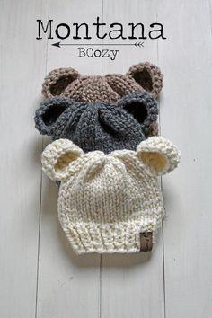 Baby Bear Hat Baby Bear Beanies Infant Newborn Knit Hat * baby bären mütze baby bären mützen neugeborenen strickmütze * bonnet bébé ours bonnet bébé ours bonnet bébé nouveau-né Newborn Knit Hat, Baby Hats Knitting, Crochet Baby Hats, Knitting For Kids, Newborn Hats, Crochet Toddler Hat, Knitted Hats Kids, Knitted Baby Clothes, Free Knitting