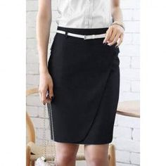 $8.93 Graceful OL Style Pencil Skirt For Women(With Belt)