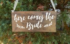 Here comes the Bride sign - Flower girl sign - ring bearer sign - Here comes your bride sign - Rustic wedding sign -  Wood wedding sign - 01 by WoodSignStudio on Etsy https://www.etsy.com/listing/268801969/here-comes-the-bride-sign-flower-girl