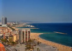 Barcelona coast as seen from a cable car in Spain.  Travel photography from Diane Greene Lent