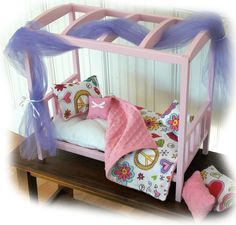 American Girl Doll Bed! I'm in LOVE with the covers.