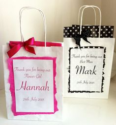 Personalised Paper Gift Bags - With matching Bow & Tissue. Wedding Thank You, Happy Birthday, Hen Party, Classy Hen Night, Stylish gift wrap by HarlieLoves on Etsy