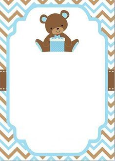Invitacion Baby Shower niño  Baby shower boy invitation bear
