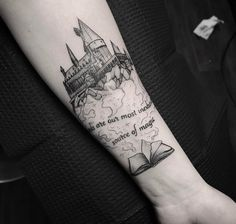 My gf's newest Harry Potter tattoo by Carter at iHeartTattoo in Columbus OH Japanese tattoo sleeve